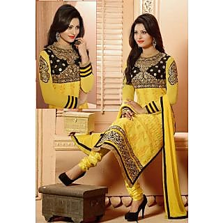Vessido Embroidered Yellow Long Straight Cut Suit