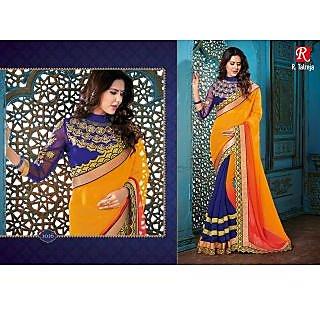 Indian Designer Bollywood Replica Actress Yellow Padding Bridal Wedding Saree