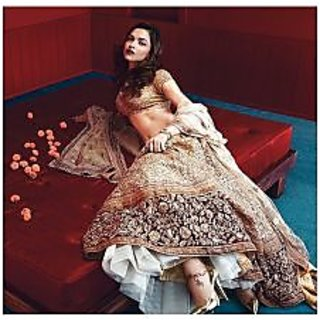 Deepika Padukone In Maroon And Golden Lehenga Choli
