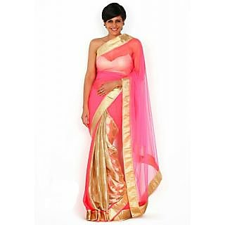 Mandira Bedi Dashing Pink Saree