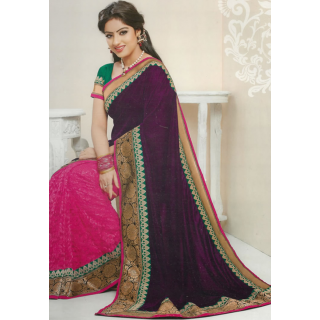 Half And Half Saree In Pink And Purple With Zari Embroidery
