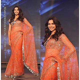 Deepika Padukone Pure Net Saree With Blouse