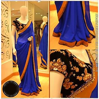 Blue Color Georgette Saree With Velvet Blouse