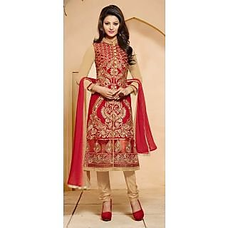 Vessido Embroidered Maroon Long Straight Cut Suit