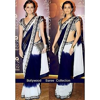 Dia Mirza In Black And White Saree