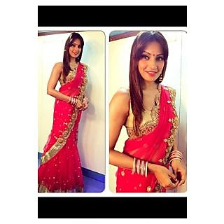 Bipasha Basu In Red Saree With Golden Embroidered Border