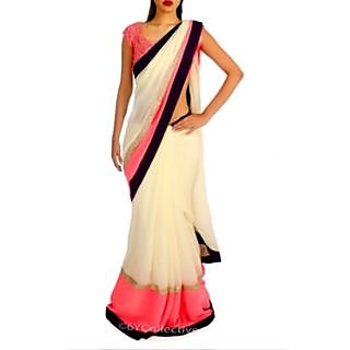 Cream & Pink Bollywood Replica Saree