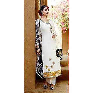 KFHub Cream Yellow & Black Straight Long Embroidered With Print Jacqurad Cotton