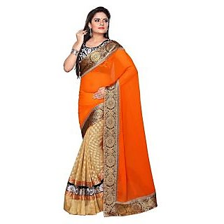 Home Deal Pure Georgette Embroidered Saree Orange And Off White