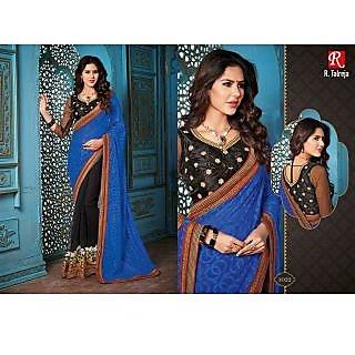 Indian Designer Bollywood Replica Actress Royal Blue Black  Bridal Wedding Saree