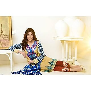 Ladies Beautiful Cotton Printed Suit Material Yellow And Blue