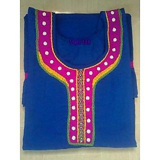 Designer Wear Blue Long  / Shreya's Style Fab / Cotton Kurta / Kurti
