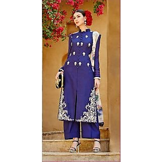KFHub Blue Straight Long Embroidered With Print Pure Linan Dress Material