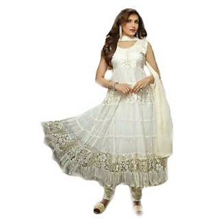 Madhav Enterprise White Braso Net Designer Party Wear Dress Md10003