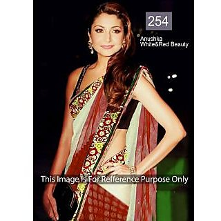 Anushka White And Red Georgette Bollywood Saree