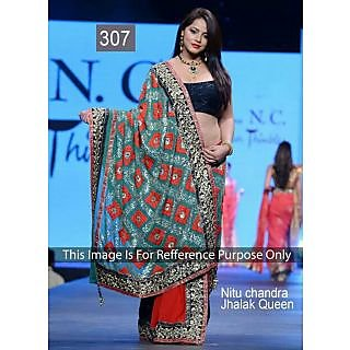 Nitu Chandra Red With Embroidery Work Bollywood Saree