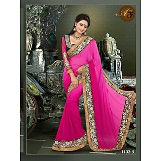Atmiya Fashion  Wetless  Fabrics And Amazing Pink Color Combines Half-Half Saree