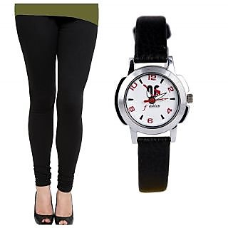 Nimya Black Cotton Lycra Leggings With Free Watch