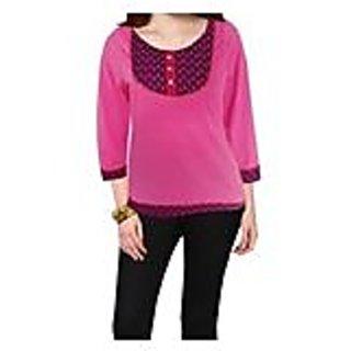 Sarvinis Endearing Light Pink Printed Knitted Cotton Kurti