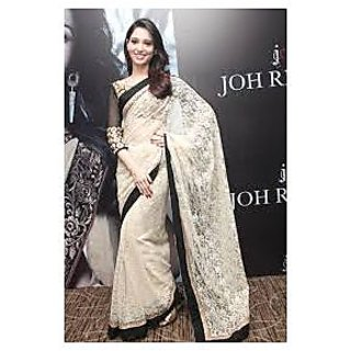 Richlady Fashion Tamannaah Bhatia Net Border Work Cream Saree