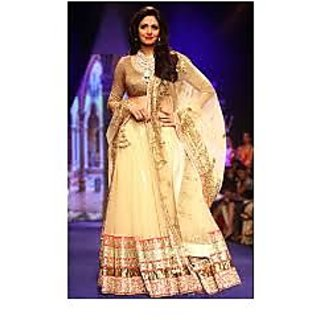 Richlady Fashion Sridevi Net Border Work Cream Lehnga Choli