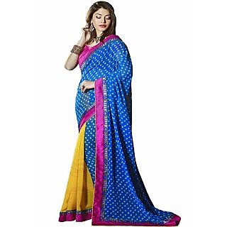 Pagli Blue With Yellow Half-half Printed Georgette Saree