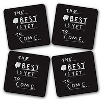 Best Is Yet To Come Printed Wooden Kitchen Coaster Set Of 4