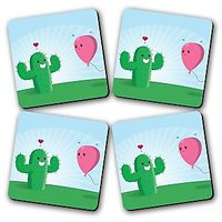 Cactus Scare Printed Wooden Kitchen Coaster Set Of 4