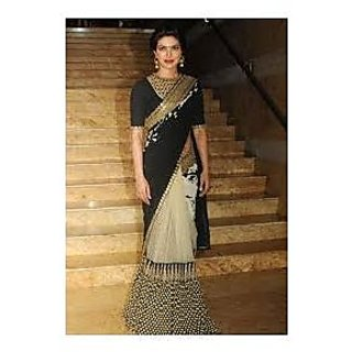 Richlady Fashion Priyanka Chopra Georgette Border Work Black & Beige Saree