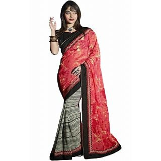 Pagli Multi Colour Georgette Half-half Printed Saree