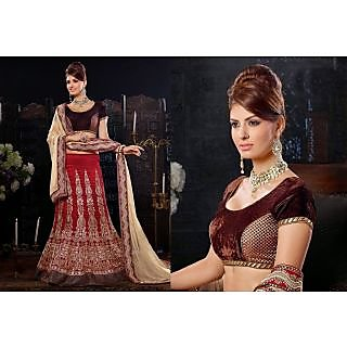 Bhagalpuri Silk Red Lehenga Choli Online