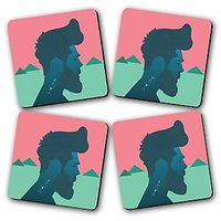 Cave Man Printed Wooden Kitchen Coaster Set Of 4