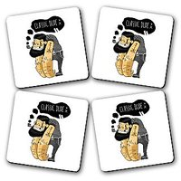 Classic Dude Printed Wooden Kitchen Coaster Set Of 4