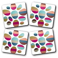 Color Blocked Pebble Printed Wooden Kitchen Coaster Set Of 4