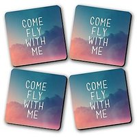 Come Fly With Me Printed Wooden Kitchen Coaster Set Of 4