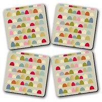 Delightful Rue Printed Wooden Kitchen Coaster Set Of 4