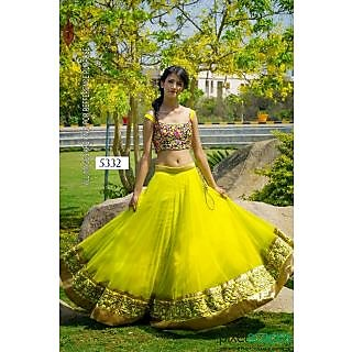 Yellow Net Lehenga By Purple Oyster