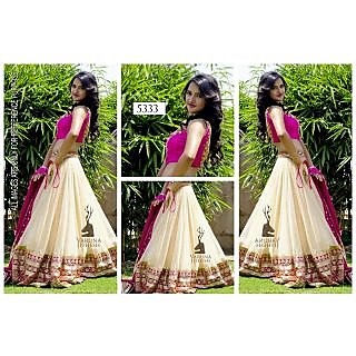 White And Pink Lehenga By Purple Oyster
