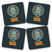 Dreamers In The Deep Printed Wooden Kitchen Coaster Set Of 4