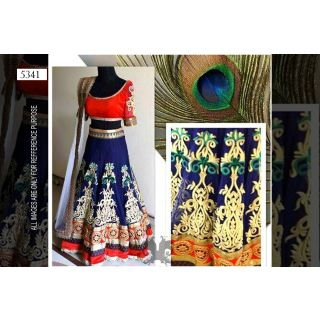 Navy Blue With Red Combination Lehenga By Purple Oyster