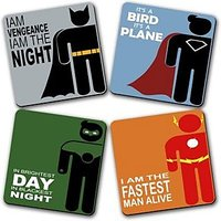 Fight For Justice Printed Wooden Kitchen Coaster Set Of 4s