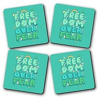 Freedom Printed Wooden Kitchen Coaster Set Of 4