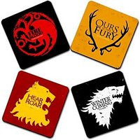 Game Of Throne Printed Wooden Kitchen Coaster Set Of 4