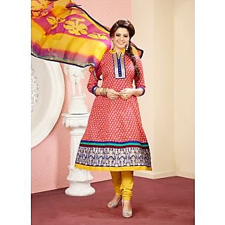 Vastrani Pink & Yellow Coloured Embroidered Semi Stiched Salwar Suit 161D3003