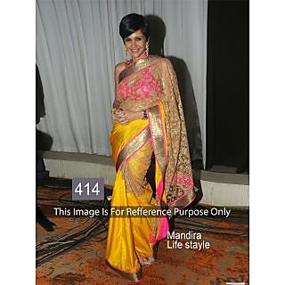 Mandira Yellow Net Saree By Purple Oystre