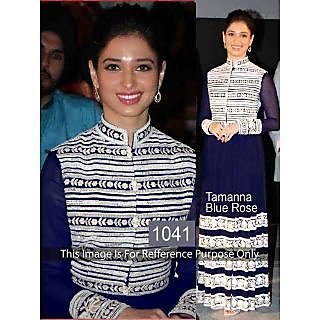 Tamanna Navy Blye Georegttte Anarkali By Purple Oyster