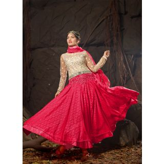 Vastrani Off-White & Pink Coloured Embroidered Semi Stiched Anarkali 167D6001