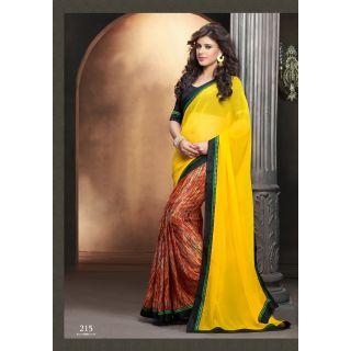Stylish Yellow Color  Designer Printed  Sarees