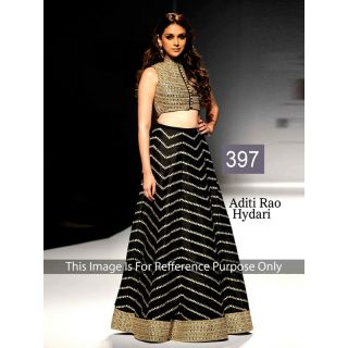 Aditi Rao Black Jacket Style Lehenga By Purple Oyster
