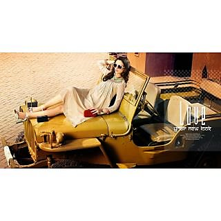 Georgette Cream Readymade L/40  Kurta Kurti Online
